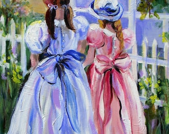 Two Little Girls Original Painting 18 x 24   Fine Art by Elaine Cory