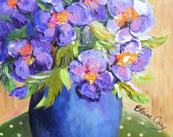 A PURPLE FLORAL Original Still life painting  14 x 18 Fine Art by Elaine Cory