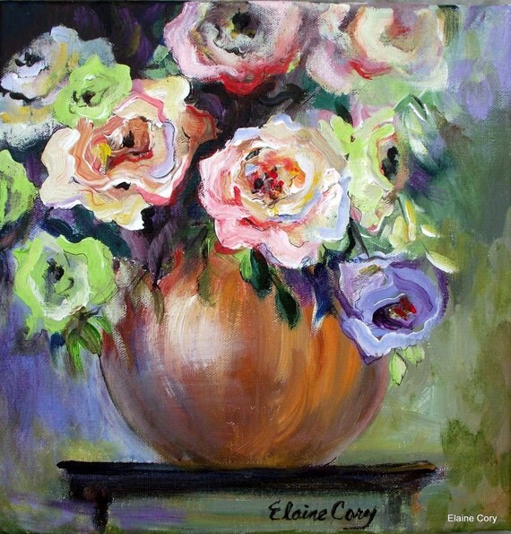 Flowers Original Painting palette knife textural impasto  12 X 12  Original Art by Elaine Cory
