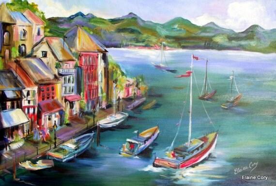 Lake Como... Landscape Original Painting oil acrylic 16 x 20  Fine Art by Elaine Cory