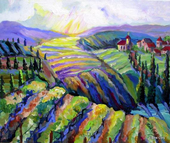 WINERY Vineyard  LAVENDER HILLS   Landscape Original Painting 24 x 30 palette knife Fine Art  by Elaine Cory