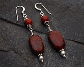 Heartbeat Earrings - Poppy and Red Jasper