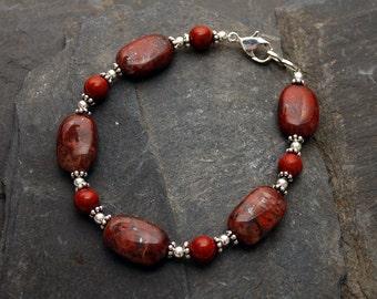 Heartbeat Bracelet - Poppy and Red Jasper
