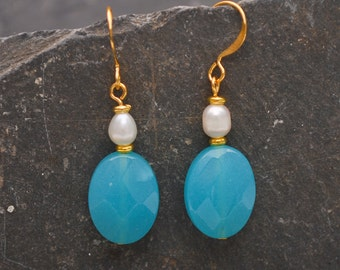Pacific Gem Gold Earrings - Quartz and Pearl