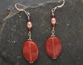 Cherry Quartz Long Earrings