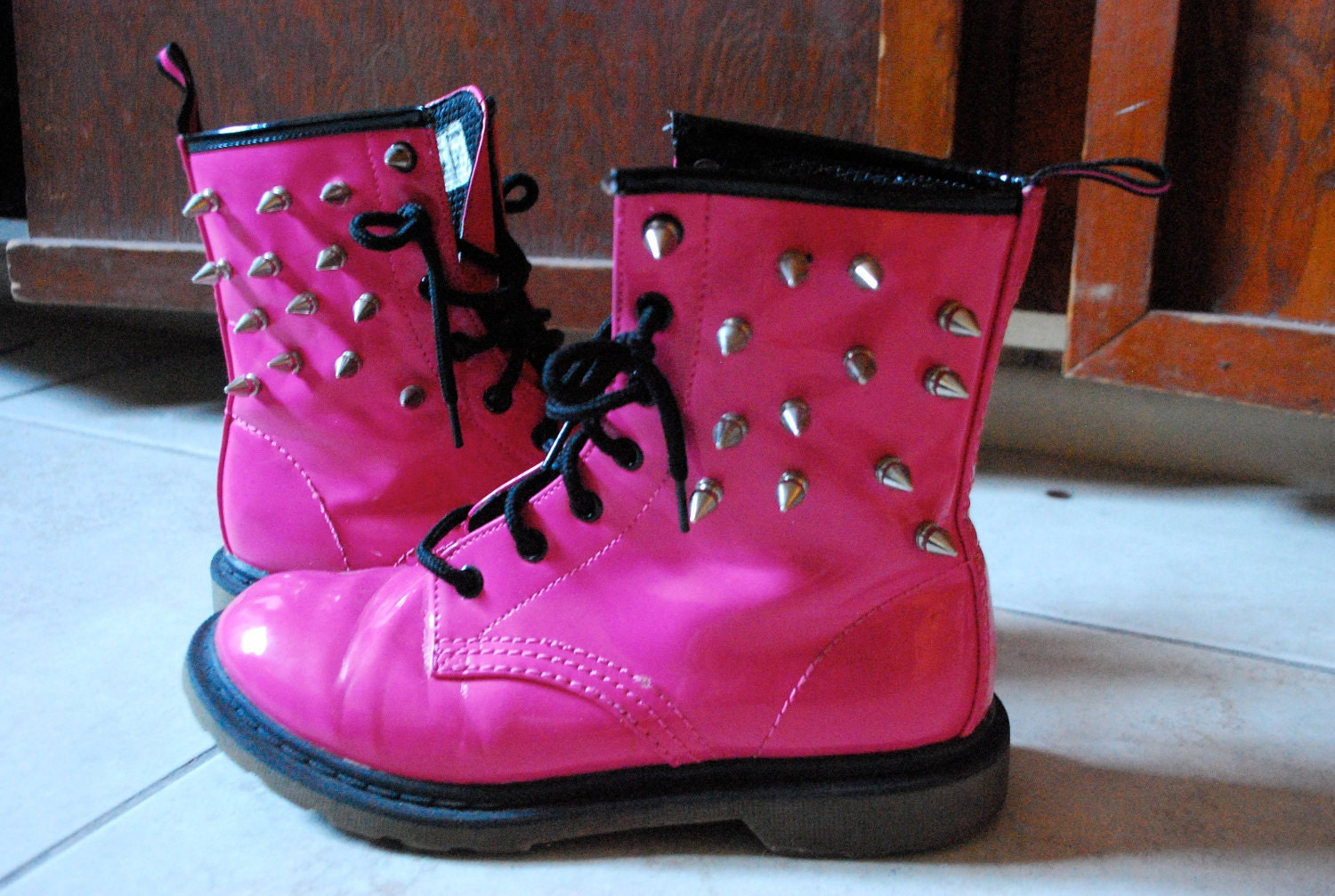 Hot pink spike combat boots by suckmyovaries on Etsy