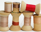 Lot of 7 Vintage Wood Spools with thread // RED PINK PEACH