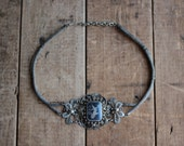 Vintage Choker Necklace in Silver with Dancing Goddess