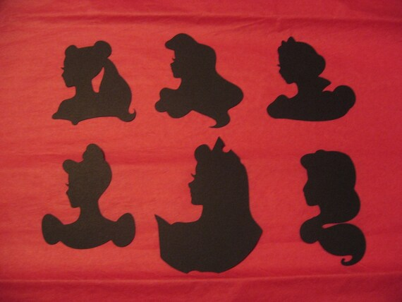 6 Disney Princess Die Cut Black Silhouettes