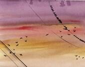 Birds on a Wire original watercolor, PRINT