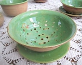 Green berry bowl or colander, medium for Veggies and Fruit with plate
