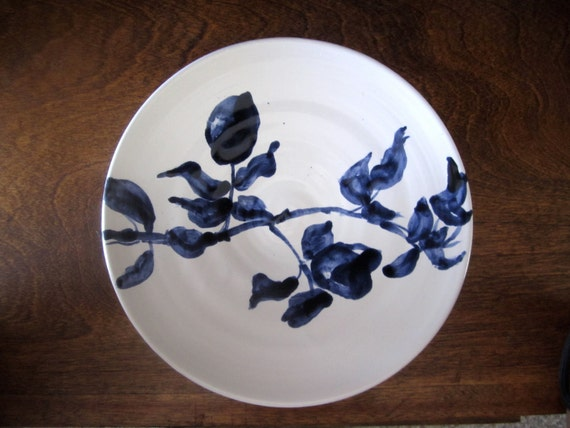 Indigo blue and white plate , rose branch plate, Mothers Day Gift