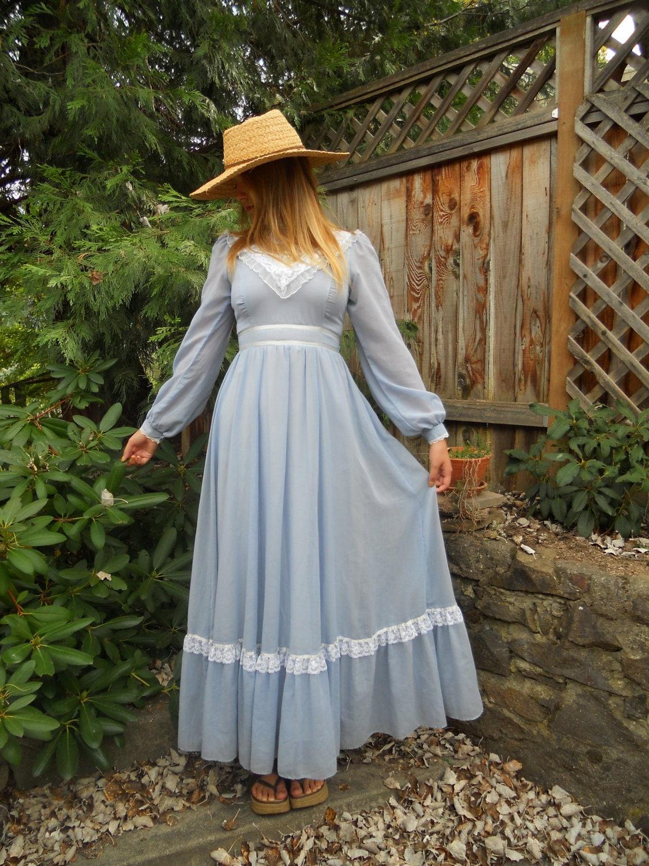 Vintage Gunne Sax Maxi Dress In Light Blue Size 9