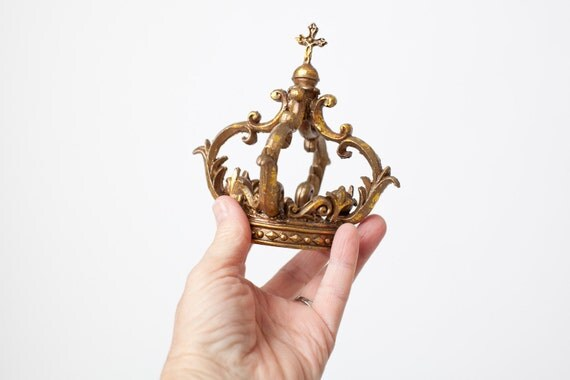 Mini Gold Crown Cake Topper