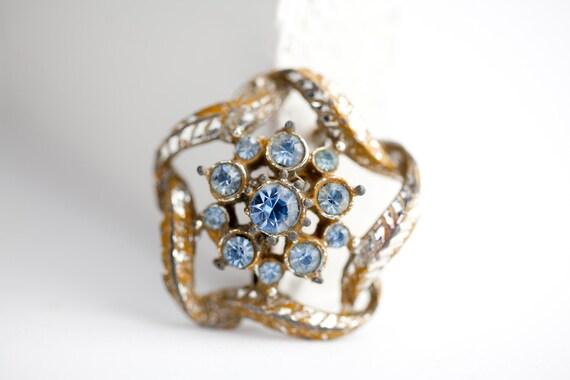 Rusty Blue and Silver Pin Rhinestone Brooch