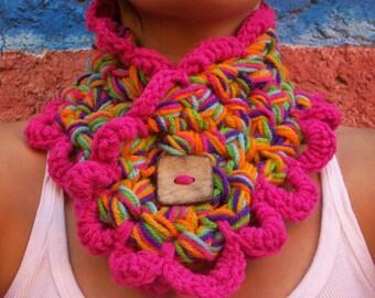 Crochet Neckwarmer -Rainbow