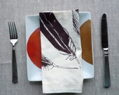 Ivory Cotton Napkins with Brown Feathers