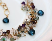 14k Gold Filled Bracelet with London Blue Topaz Rock Crystal Moss Aquamarine Andalusite Rose Quartz Iolite and Keishi Keshi Pearls Cluster