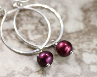 30% OFF - Hand Formed Maroon Burgundy Pearl and Argentium Sterling Silver Simple Circle Loop Earrings - Ella