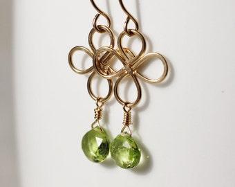 Green Peridot Earrings 14k Gold Filled Clover August Birthstone Heart Briolette Semiprecious Gemstone Hammered - Luck of the Irish