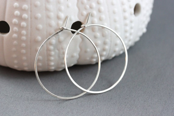Hand Formed Simple Argentium Sterling Silver Hoop Earrings - Leah