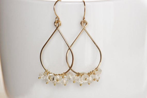 Tear Drop Earrings with Clear White Topaz and 14k Gold Filled November Birthstone Gemstone Cluster - Priscilla