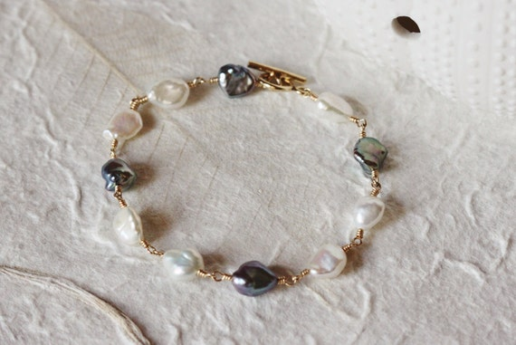 14k Gold Filled Bracelet Keishi Keshi Pearls Freshwater Organic Creamy and Black Peacock Wire Wrapped Toggle Clasp