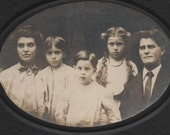 Vintage Cabinet Card  Eerie Family with gorgeous hair & haunted looks-  large, cool  photograph