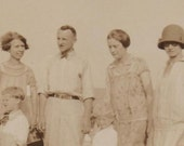 Vintage Snapshot 1920s Weird Family We Are DEVO  Sepia Photograph Photo