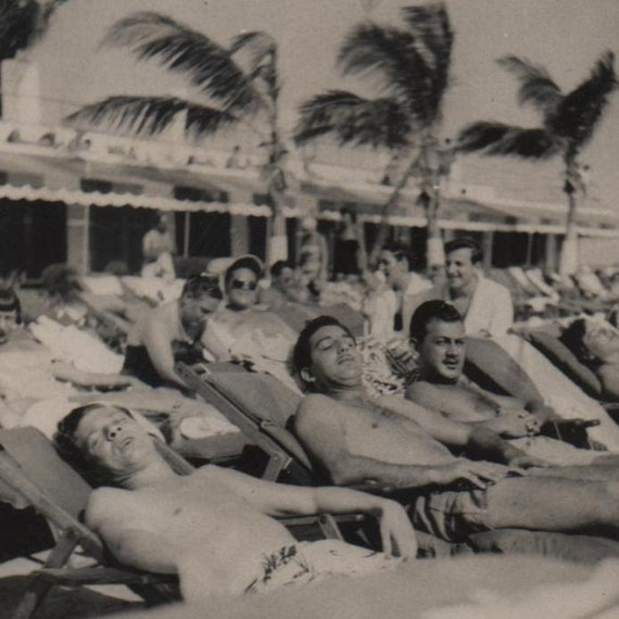 Vintage Snapshot Gay Vacation Relaxation handsome sunbathing men photo