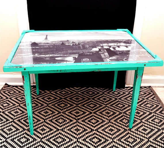 Vintage Upcycled Paris Turquoise  Coffee Table
