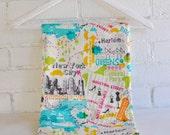 Handmade Baby Quilt,  New York City Map, Organic Bamboo and Cotton