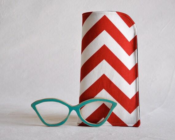 Sunglasses Case, Eyewear Case, Chevron, Red and White