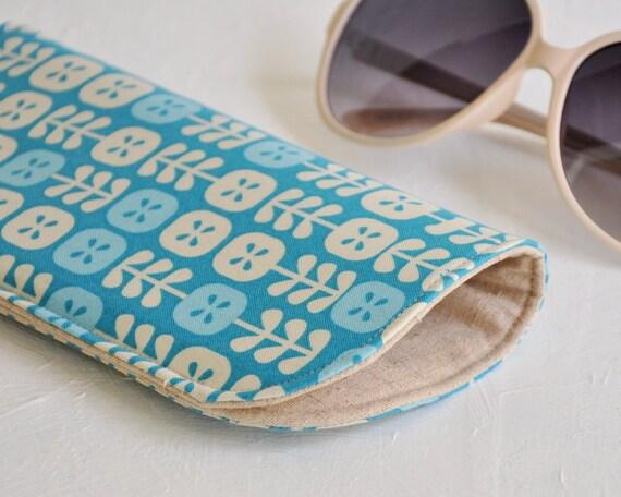 Sunglasses Case, Geometric Flowers Blue and Ivory