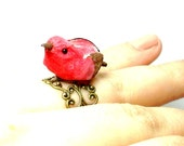 Red Bird Ring, Novelty Ring, Birdy Ring, Birdie Ring, Adjustable Ring, Woodland Jewelry, Rustic Jewelry, Naturalist, Filigree Ring