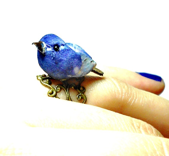 Blue Bird Ring, Novelty Ring, Birdy Ring, Birdie Ring, Adjustable Ring, Woodland Jewelry, Rustic Jewelry, Naturalist, Filigree Ring