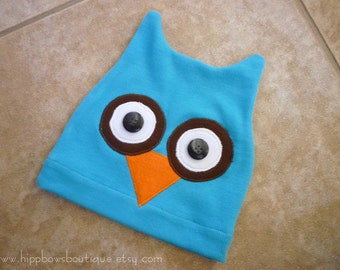 Ready for Shipping Owl Hat Teal Jersey Knit