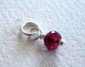 Faceted Rhodonite Garnet Gemstone Dangle Charm Petite