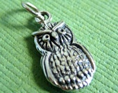 Sterling Silver Owl Pendant or Charm