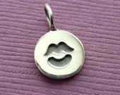 Sterling Silver Stamped Kiss Disc Tag Charm CLEARANCE