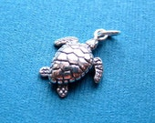 Sterling Silver 3D Sea Turtle Pendant or Charm