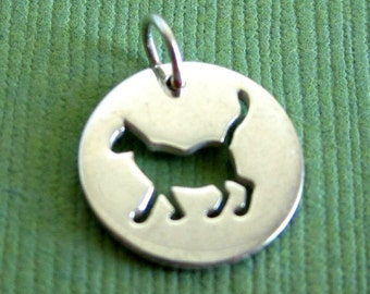 Sterling Silver Cutout Cat Disc Tag Charm