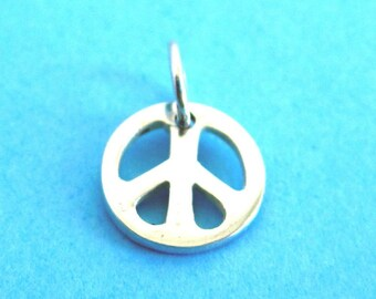 Sterling Silver Peace Sign Disc Tag Charm