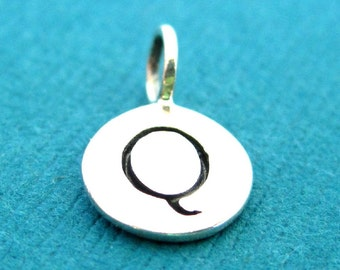 Sterling Silver Alphabet Letter Q Initial Charm