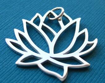 Sterling Silver Lotus Flower Openwork Large Pendant Charm