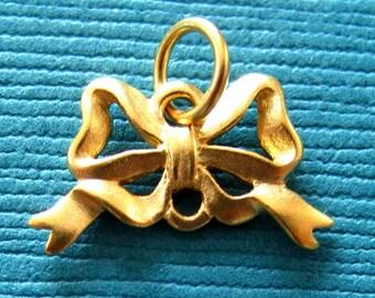 Vermeil Style Bow Pendant  Charm