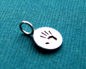 Sterling Silver Stamped  Hand Print  Disc Tag Charm