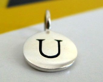 Sterling Silver Alphabet Letter U Initial Charm