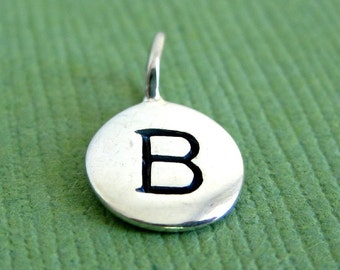 Sterling Silver Alphabet Letter  B  Initial Charm