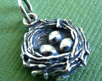Sterling Silver Birdsnest and Eggs Pendant or Charm